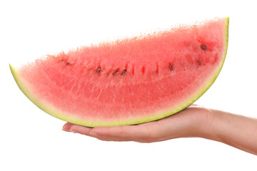 Woman holding slices of watermelon isolated on white