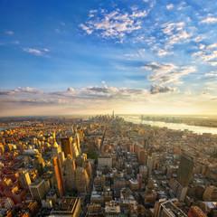 Aerial view of Manhattan at sunset, New York City
