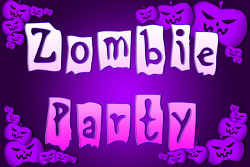 Halloween Zombie Party text on Background