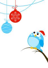 Cute little bird with Christmas balls