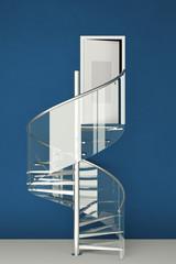 Wendeltreppe aus Glas vor Tür