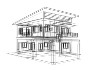 abstract sketch design of house   ,3dwire fra