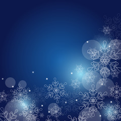 Christmas background with snowflakes and space for text. Vector