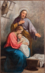 Bergamo - The paint of Holy Family from year 1900.