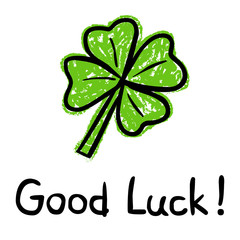 Good-Luck-Postcard With Four-Leaved Shamrock, Vector