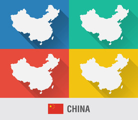 Wall Mural - China world map in flat style with 4 colors.