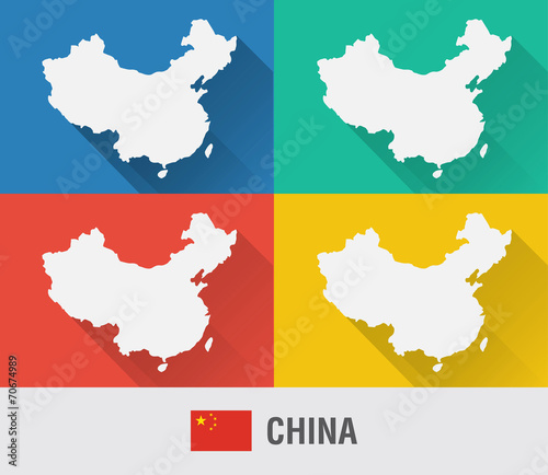 China world map in flat style with 4 colors stock image and china world map in flat style with 4 colors gumiabroncs Gallery