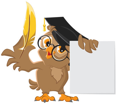 Wise owl holding a golden pen and a sheet of paper