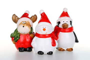 Reindeer,snowman and penguin with Santa clause outfit