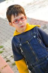 Red eyewear young boy