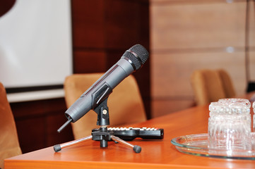 Microphone on tripod stand on a table