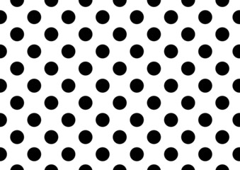 White background with black polka dots