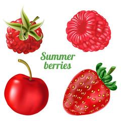 Vector illustration ripe raspberry, strawberry, cherry isolated