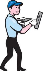 Plasterer Masonry Worker Trowel Cartoon