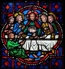 Fotobehang Stained Last Supper on Maundy Thursday - Stained Glass in Tours