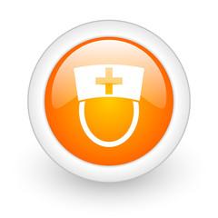 nurse orange glossy web icon on white background.