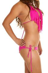 close pink bikini fringe