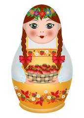 матрешка, девочка с лукошком ягод