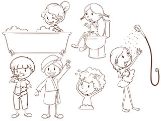 Simple sketches of the people taking a bath