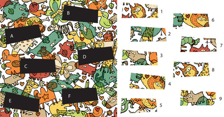 Animals: Match pieces, visual game. Solution in hidden layer!