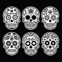 Mexican sugar skull, Dia de los Muertos icons set on black