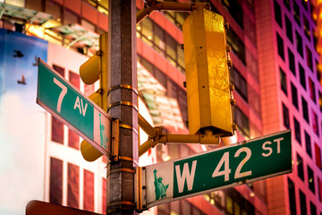 The intersection of 42nd Street and 7th Avenue at Times Square,