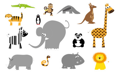 zoo animals set- vectors for children
