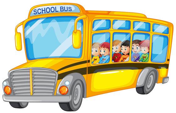 Children and school bus