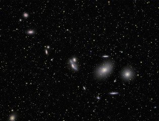 galaxies imaged with a telecope and a scientific CCD camera