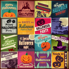 Vintage Halloween poster design set