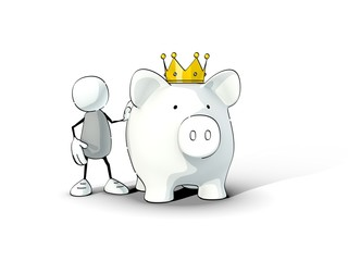 little sketchy man and piggy bank with king crown