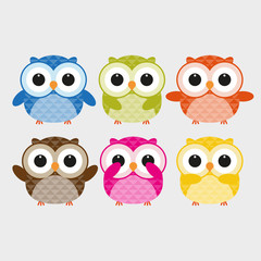 Vector of colorful owls