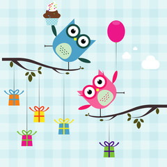Vector birthday party card with cutes owl on trees