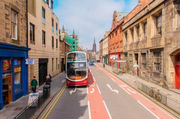 street view of Edinburgh in Scotland, UK