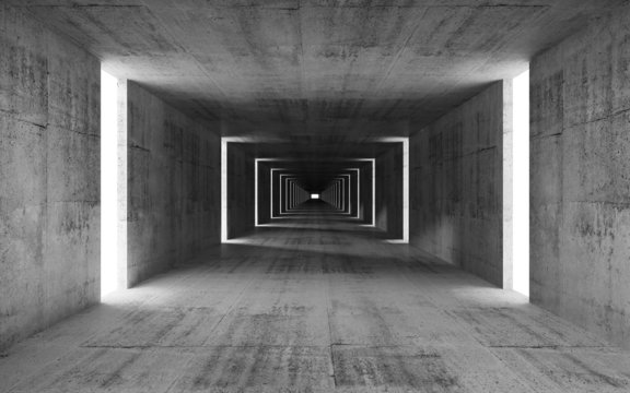 3d render, abstract empty gray concrete interior background