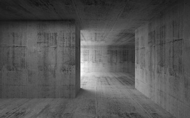 Abstract empty room concrete interior. 3d render