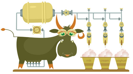 Comic milk farm and cow illustration