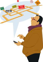 Man receiving traffic alert on a cell phone