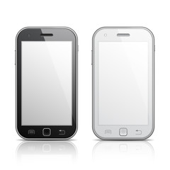 Black and white mobile phones with blank screens.