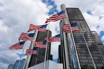 American Flag in Front of GM Building in Detroit