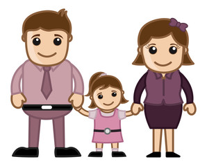 Man Woman and Child - Vector Family Illustration