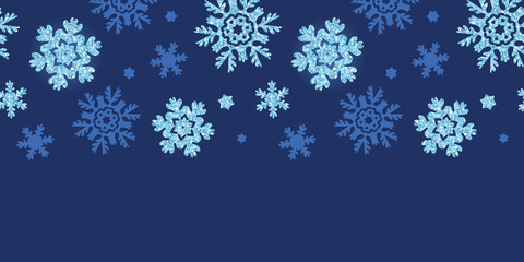 Vector glitter snowflakes dark horizontal border seamless