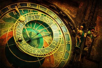 Fotomurales - astronomische Uhr am Rathaus in Prag mit nostalgischer Textur