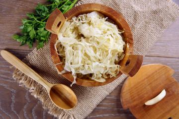 Sauerkraut in a wooden barrel