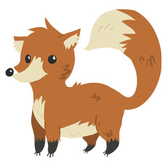 Vector cartoon flat funny fox mascot.