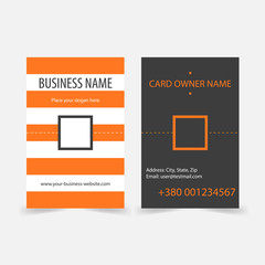 Abstract orange stripes vertical business cards.