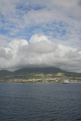 Overcast over island volcano. Saint Kitts and Nevis