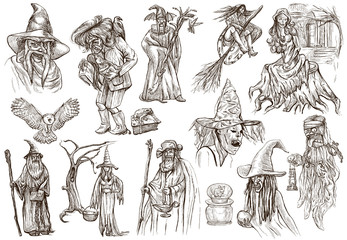 Halloween, Wizard and Witches - An hand drawn pack on white