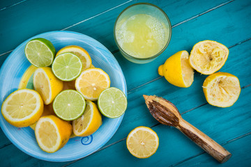 Homemade organic fresh lemon squeezed juice