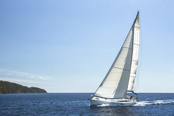 Fototapete - Boat in sailing regatta. Luxury yachts at Sea.